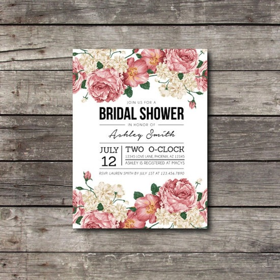 Floral bridal shower invite