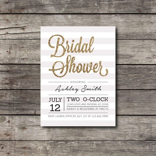 Gold glitter bridal shower invitation