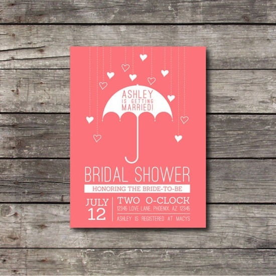 Umbrella bridal shower invite in peach