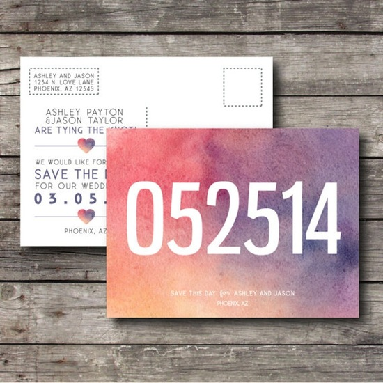 Colorful postcard save the date