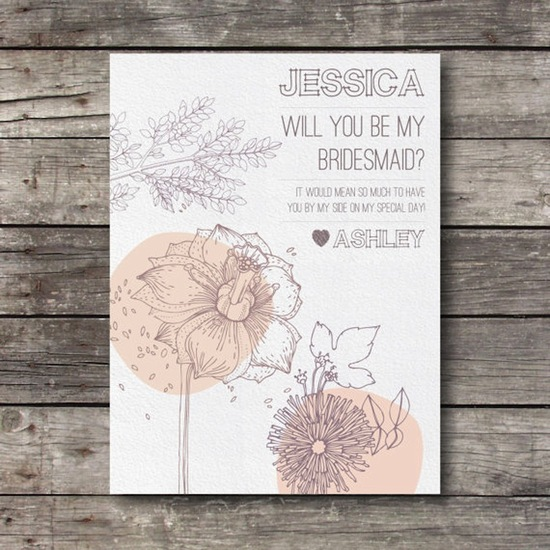 Floral will you be my bridesmaid stationery