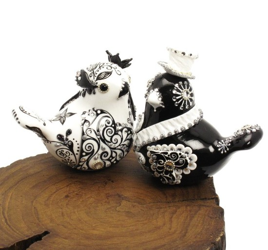 photo of Black and white love bird cake topper