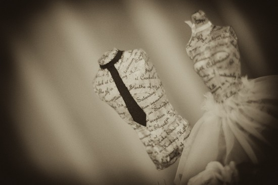 photo of Custom wedding cake topper with text from wedding invitations