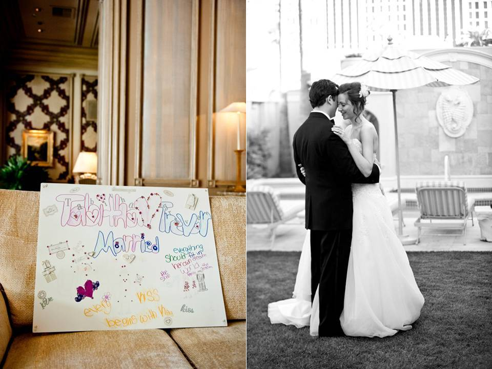 Outdoor-wedding-photos-bride-white-wedding-dress-groom-in-tux-wedding-reception-sign.full