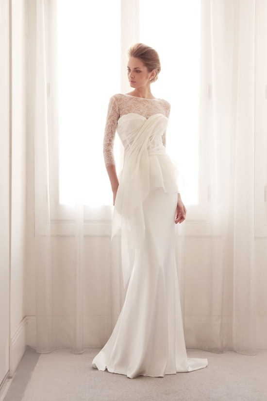 photo of A line illusion wedding gown by Gemy Bridal