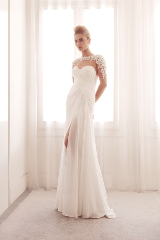 Illusion wrap wedding gown by Gemy Bridal