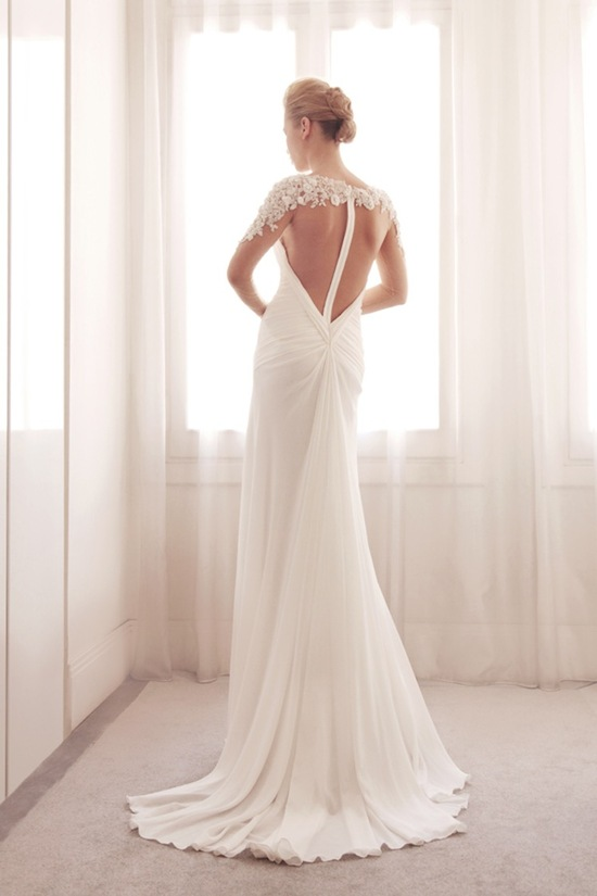 photo of Illusion wrap wedding gown by Gemy Bridal