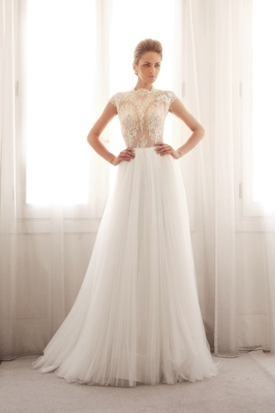 photo of Lace and tulle wedding gown by Gemy Bridal