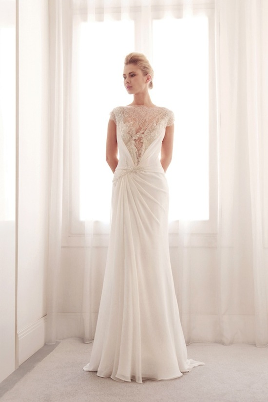 photo of Lace illusion wedding gown by Gemy Bridal
