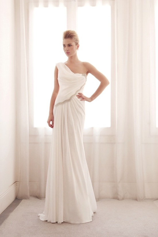 One shoulder wedding gown by Gemy Bridal
