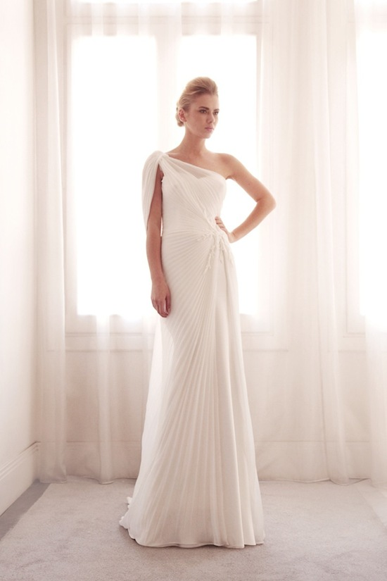 photo of Pleated wedding gown by Gemy Bridal