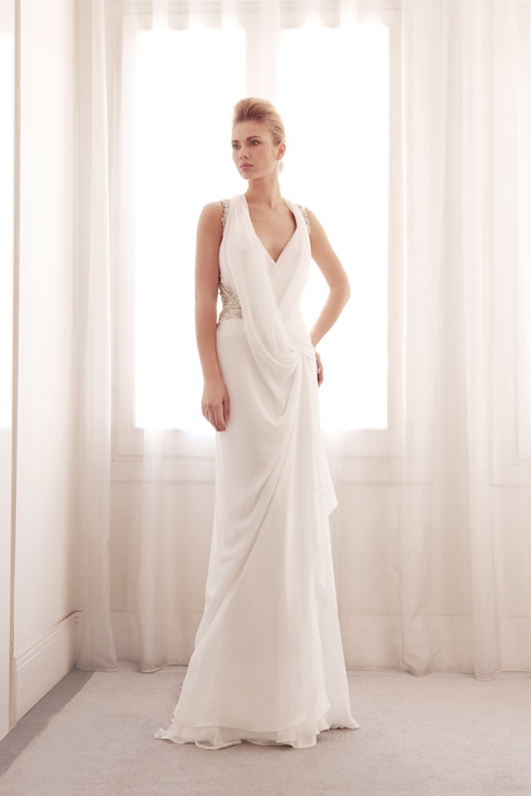Scoop neck wedding gown by Gemy Bridal