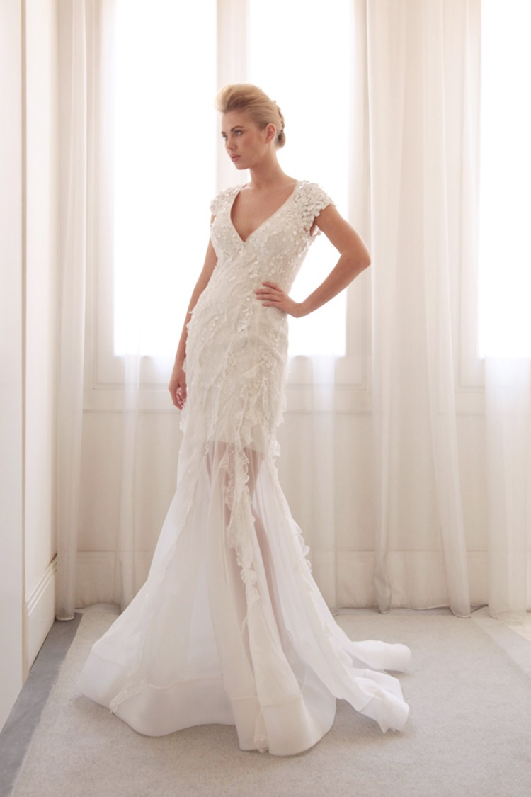 Sheer overlay wedding gown by gemy bridal for Wedding dress with overlay