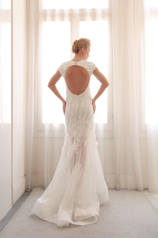 photo of Sheer overlay wedding gown by Gemy Bridal