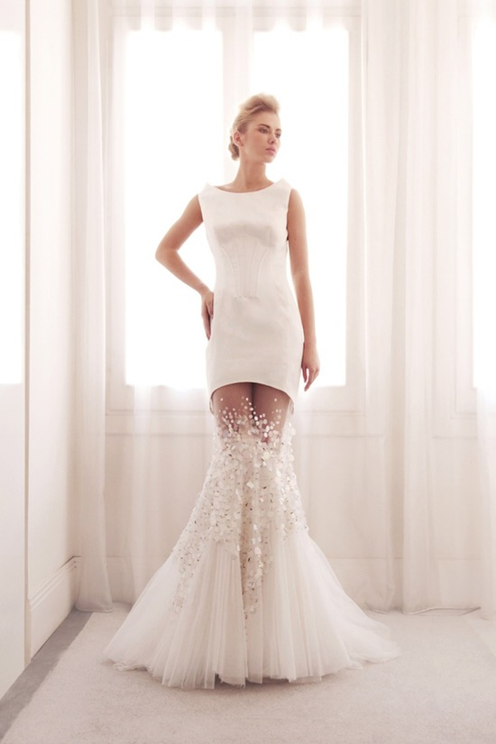 Unique two piece mermaid wedding gown by Gemy Bridal