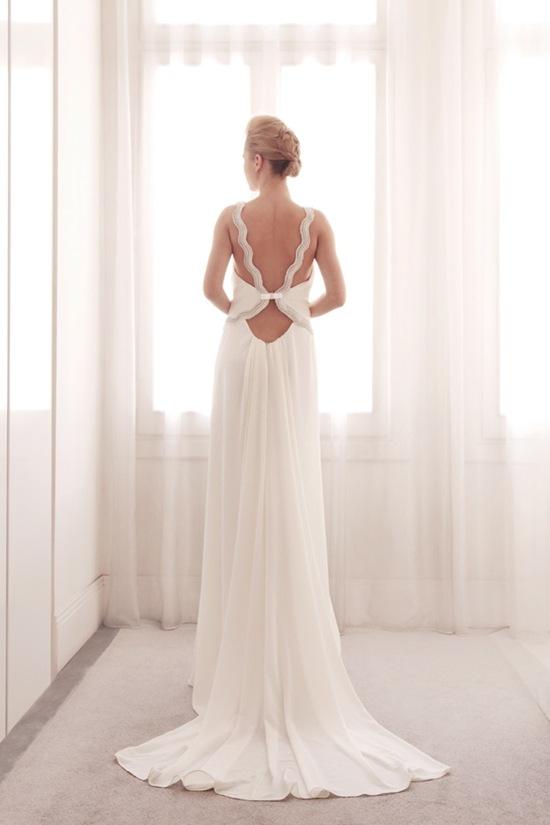 photo of V neck sheath wedding gown by Gemy Bridal