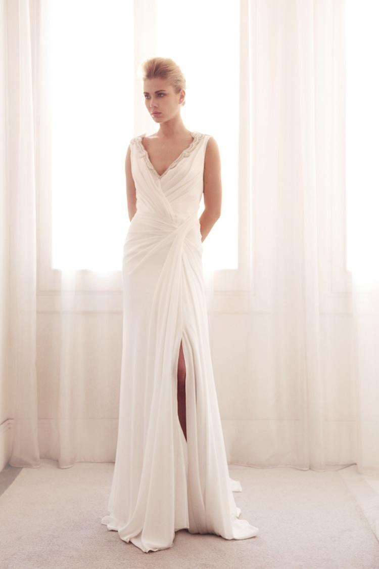 neck wrap wedding gown by Gemy Bridal