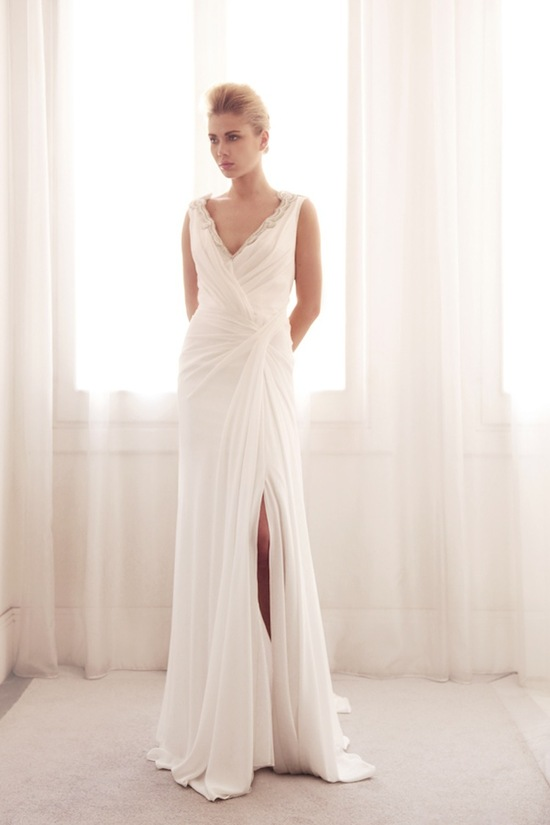 photo of V neck wrap wedding gown by Gemy Bridal
