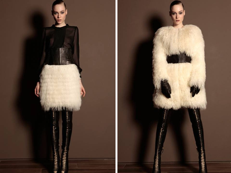 Ivory feathers against black leather- a killer combination