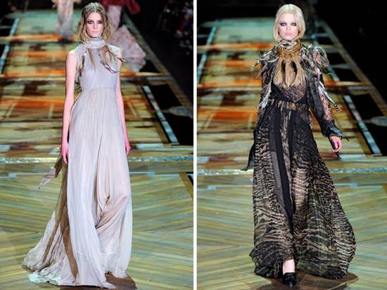ROberto Cavalli draped gowns with high necklines and slit