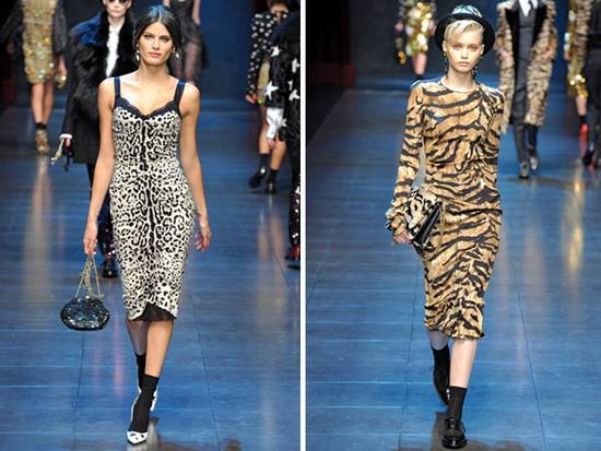 On-trend animal print on Dolce & Gabbana 2011 RTW catwalk