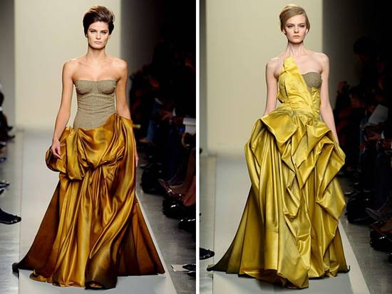 Strapless ballgown wedding dresses with rich hues by Bottega Veneta