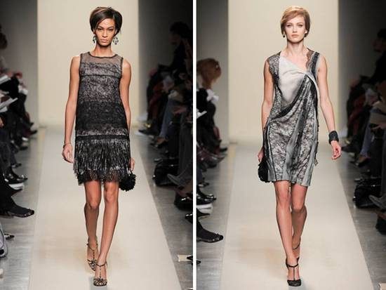 Mini sheath style lace dresses by Bottega Veneta