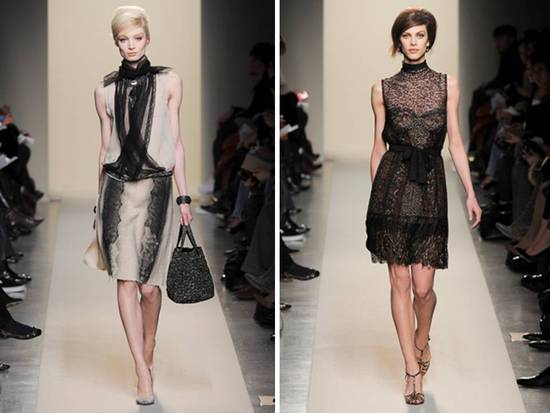 Romantic lace dresses from Bottega Veneta