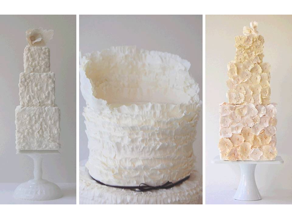 Modern white wedding cakes with architectural beauty