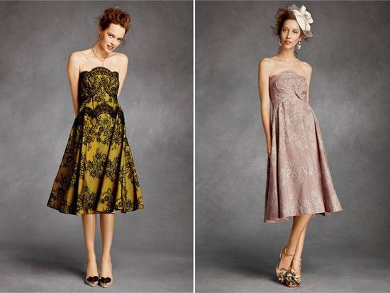 Strapless knee-length BHLDN bridesmaids dresses with lace detail