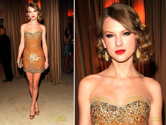 Taylor Swift in gold and silver beaded strapless mini dress by Zuhair Murad