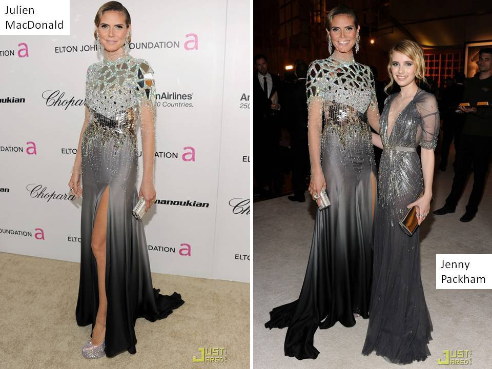 Heidi Klum in metallic bateau neck gown at 2011 Oscars party