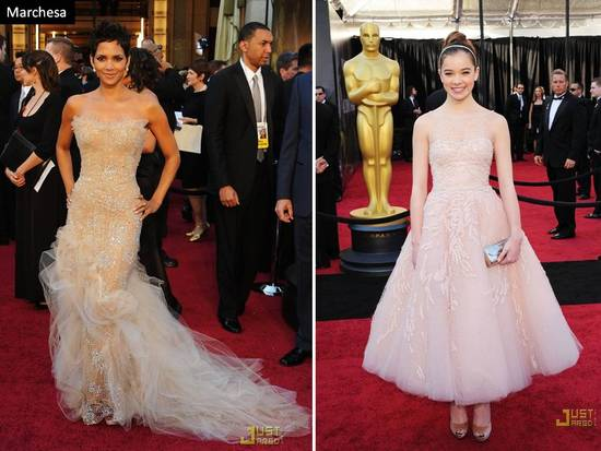 Halle Berry in strapless nude Marchesa gown at 2011 Oscars