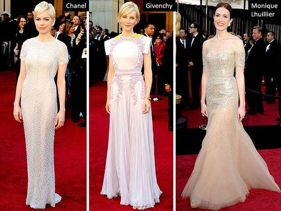 Michelle Williams, Cate Bekinsale, Mandy Moore in Monique Lhuillier at 2011 Oscars