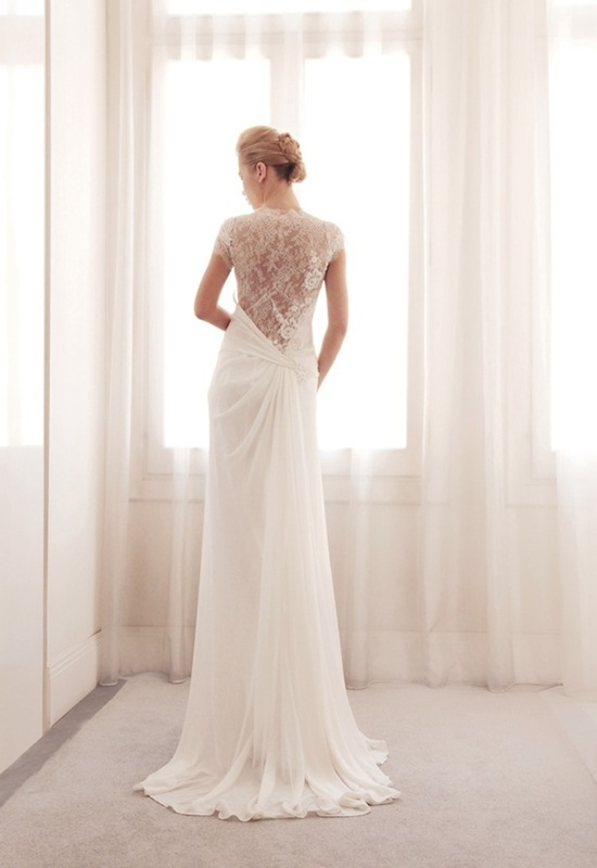 Lace illusion wedding gown by Gemy Bridal