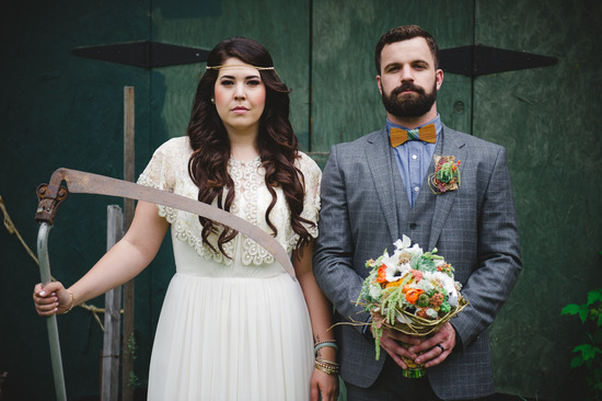 Rustic, Unique Wedding Style with Two Guys Bow Ties
