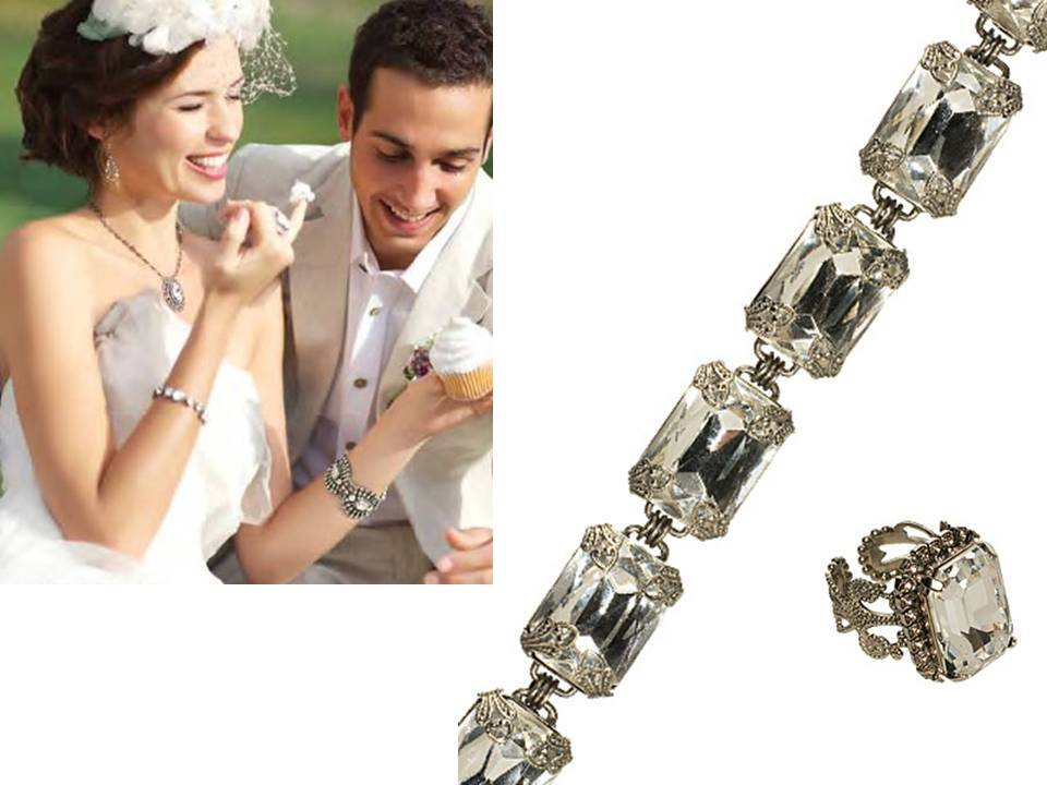 Emerald cut vintage-inspired wedding day jewelry
