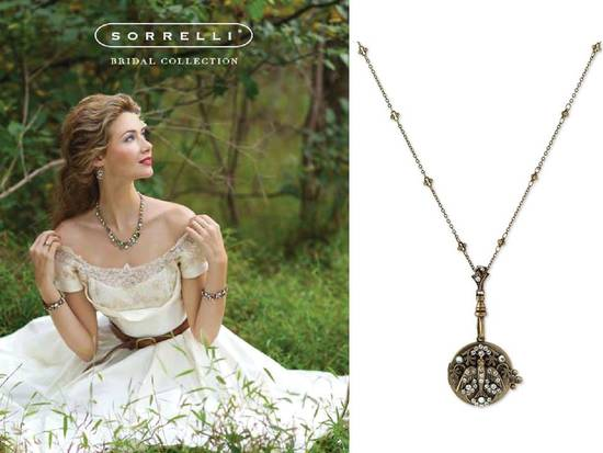 Vintage-inspired ivory lace wedding dress and antique bridal necklace
