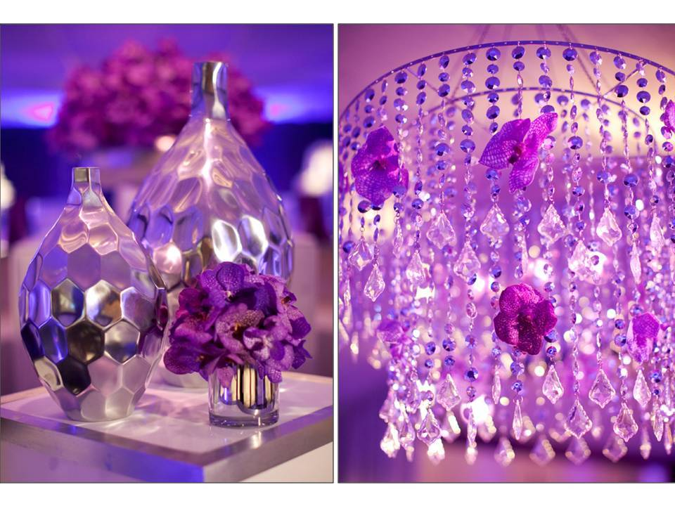 Purple Wedding Reception Decor With Chandeliers And Orchids