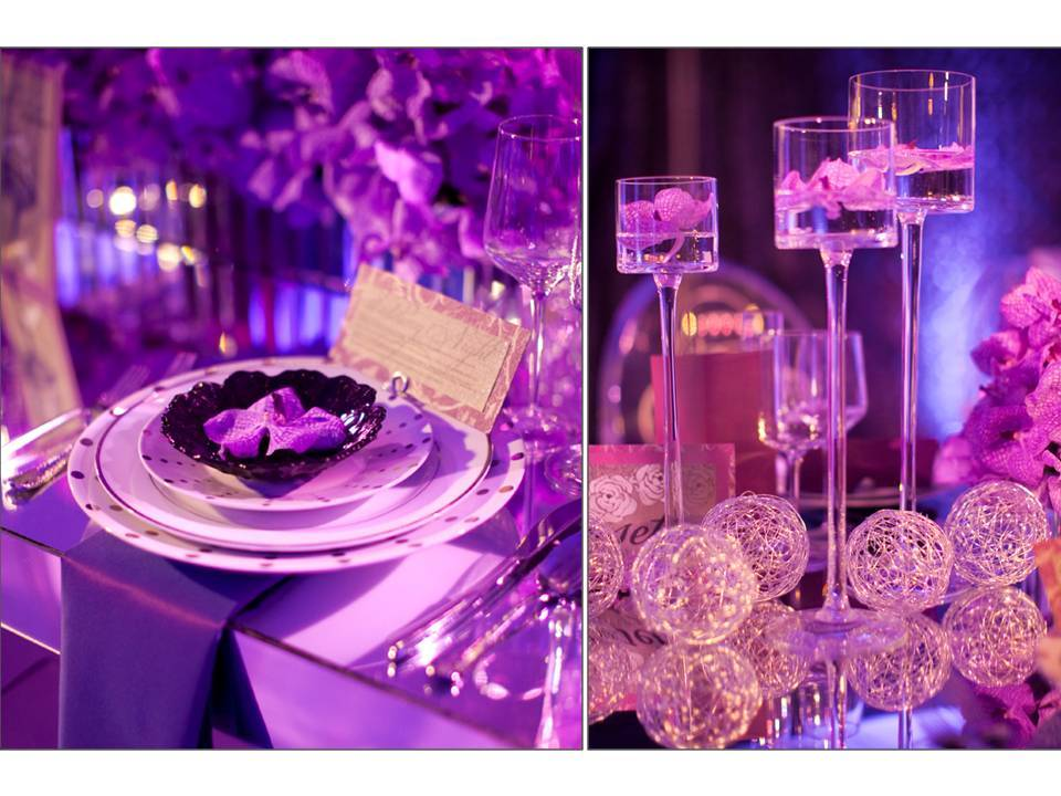 Glamorous Wedding Reception Decor Tablescape Using Orchids