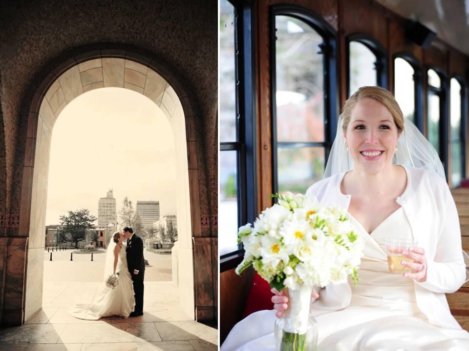 Fall-wedding-bride-wears-white-wedding-dress-bridal-bouquet-groom-in-tux.full