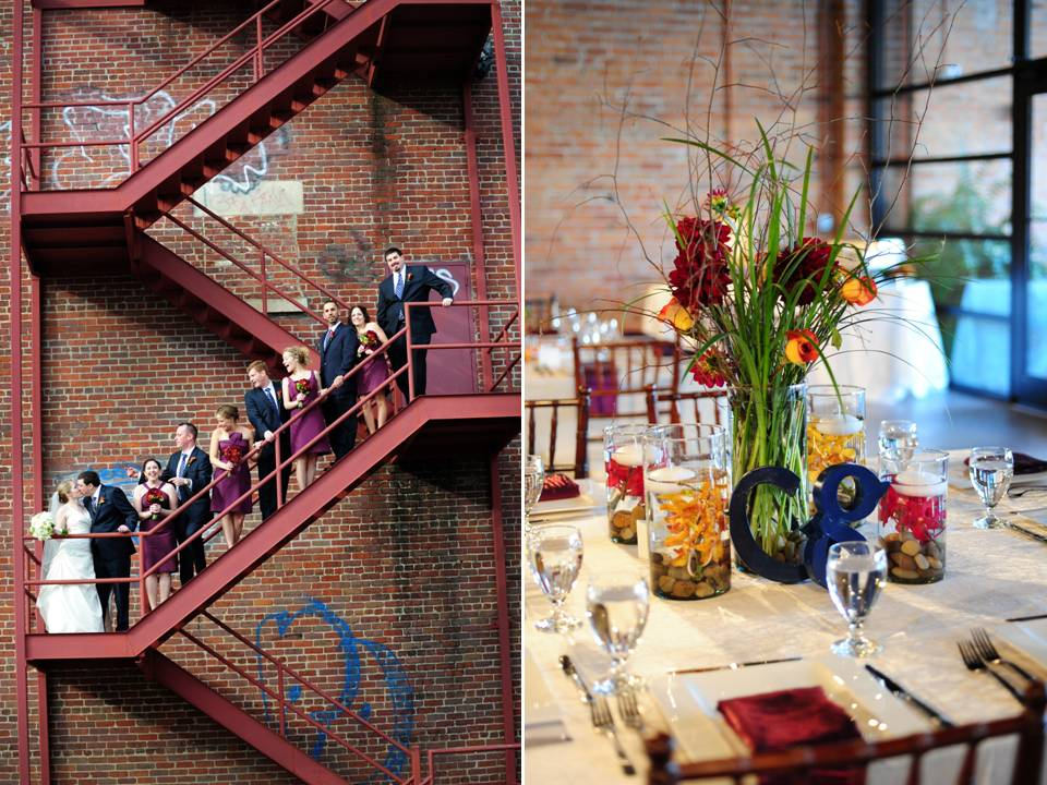 Bridal party poses on urban ladder outside brick building for Outdoor table centerpieces