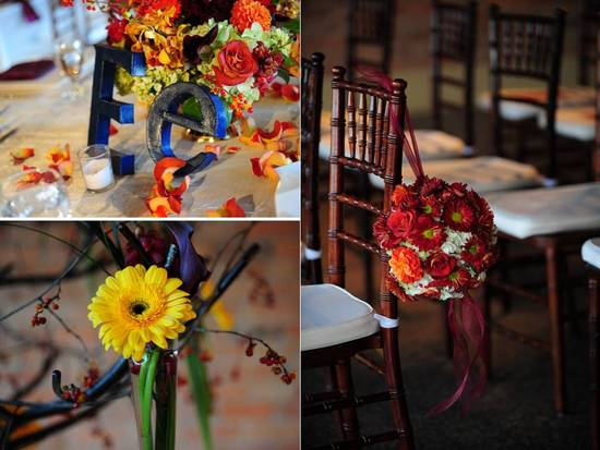 Colorful fall wedding flowers and table centerpieces