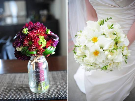 DIY wedding flower centerpiece- colorful daisies in mason jar