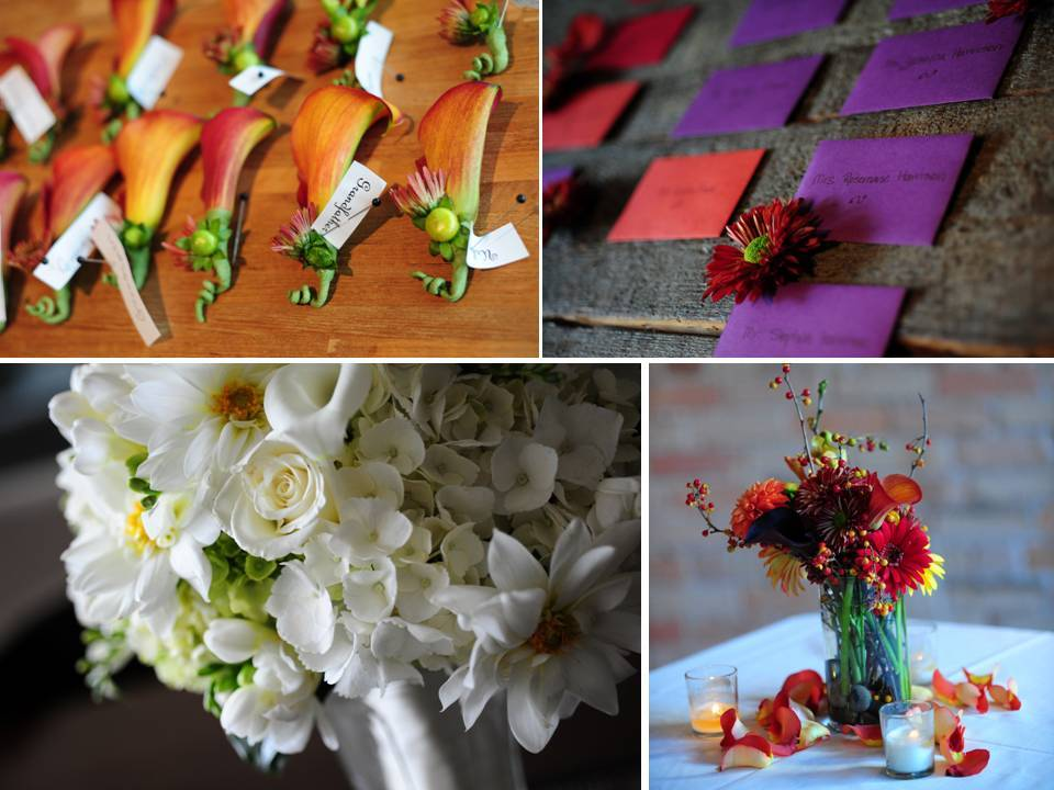 Orange Lily Boutonierres Purple And Red Escort Cards White Bridal Bouquet