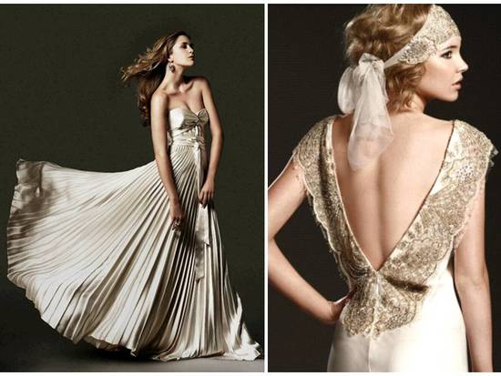 Champagne a-line strapless wedding dress and sheath style gown with open back