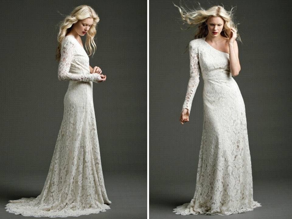 a line ivory lace wedding dress with one shoulder