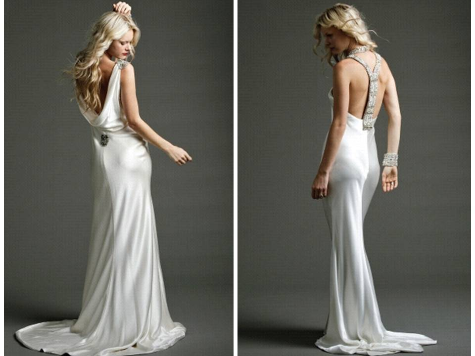 White silk sheath and mermaid wedding dresses with open backs
