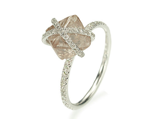 rough diamond engagement ring with pave platinum setting