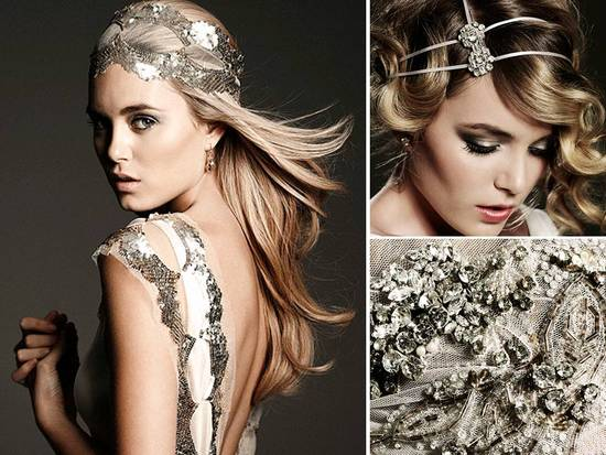 Boho glam bridal accessories and double strand bridal headband